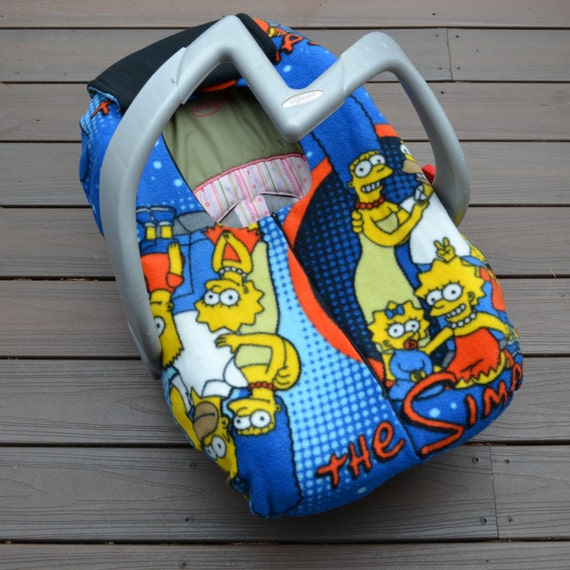 the simpsons baby car seat cover blanket with zipper for. Black Bedroom Furniture Sets. Home Design Ideas