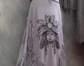 Original Peoples...tribute skirt and top fringe skirt long grey skirt size Medium