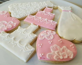 Bridal shower sugar cookies - 1 dozen - customize to match your wedding colors