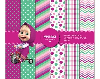 Digital Paper Pack and Clip Art Masha and the Bear. 12x12 sheets 300 dpi scrapbooking + 5 PNG CLIPART