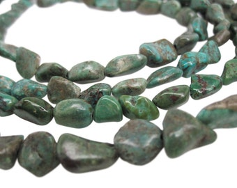 Turquoise Nugget, Turquoise Beads, Green Blue Turquoise, Pebbles, December Birthstone, SKU 4551A