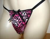 Pink &  Black Animal Print String Bikini Dress Up Sissy Panties Roomy Front for Men Full Open Bum Hugging Seam Bum or RIo Bum