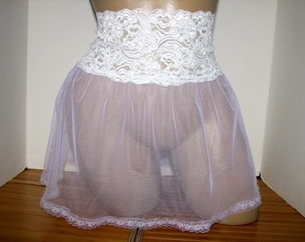 Sheer Pale Mauve with White Slip or Skirt  4 your Sissy Panties Sizes XS S M L XL XXL
