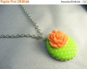 Flower fabric button pendant ... fabric covered button pendant with orange rose on silver chain