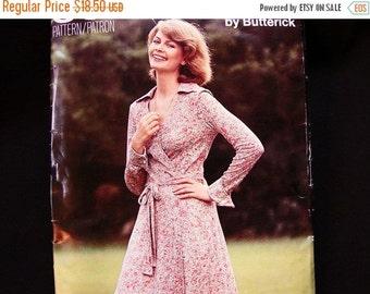 Sewing Pattern SALE 1970s Wrap Dress Pattern Butterick Misses size 16 Bust 38 UNCUT Wrap Around Dress Vintage Sewing Pattern