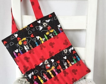 Disney Mickey Mouse Black Crayon Bag Children Coloring Tote Child Crafting Toddler Boy Birthday Gift