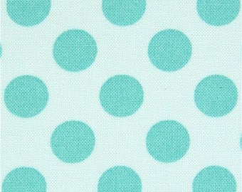 169350 turquoise Michael Miller fabric Ta Dot with green dots