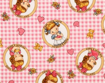 201010 pink-white little world girl circle gingham checker fabric