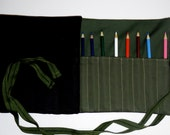 READY TO SHIP Canvas 24-48 Pencil Roll Cozy Storage Case in Olives and Black