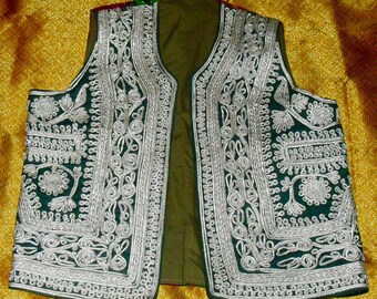 Vintage Indian Embroidered Vest Intricate pattern of Silver Cording on Forest Green