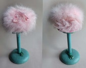 Pink Feather Fascinator Powder Puff Hat, Pink Marabou Feather Babydoll Boudoir Hat Cap Cute Hat Check Girl Baby Pink Soft Fluffy Mini Hat