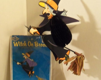 1980 Beistle Art Tissue Witch on a Broom Haloween Hanging Decoration