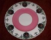 Antique CAKE PLATE Victorian Flower Basket Pink Ring Porcelain Hand Decorated