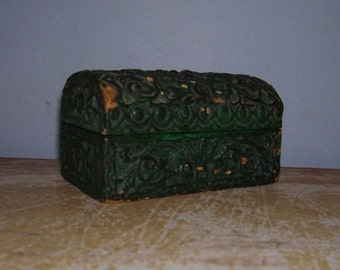 Antique Jewelry Desk Box Green Terra Cotta Pottery Italian Art Medici Medieval
