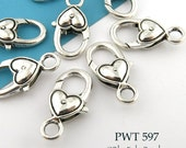 27mm Large Pewter Heart Lobster Clasp Antiqued Silver 27mm x 12mm (PWT 597)  4 pieces BlueEchoBeads
