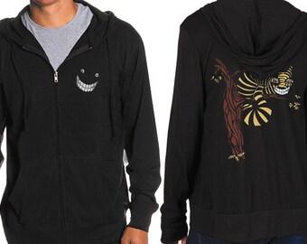 Cheshire Cat Hoodie, Alice in Wonderland Hoodie, Black Jersey Hoodie, Sweater, Gift, Cool Art Hoodie