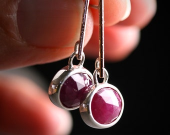 Untreated rose cut ruby dangle drop earrings in sterling silver and 14k rose gold