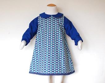 ICE STAR girl Christmas dress with long sleeves and peter pan collar, retro toddler handmade Christmas blue party dress, blue stars dress