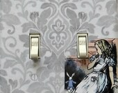 4 CHOICES of Alice in Wonderland Double Switchplates w/ MATCHING Screws- We're all mad here, Alice in Wonderland art, Alice wall decor (P)