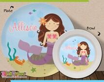Personalized Mermaid Plate and Bowl Set - Personalized Melamine Children Plate and Cereal Bowl - CHOOSE HAIR SKIN color - Mermaid Plate Set