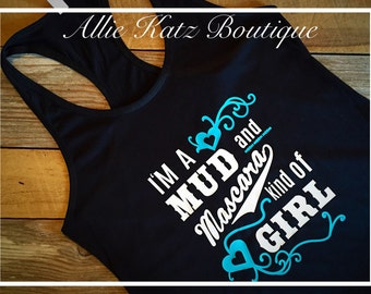 Mud and Mascara girl womens racerback tank top