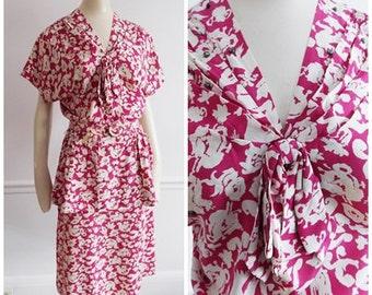 1940s pink white Novelty print rayon dress / 40s peplum dress with studs /Ellen Kaye WWII swing dress