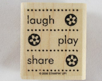 Stampin Up! - Laugh Play Share Rubber Stamp - RS249