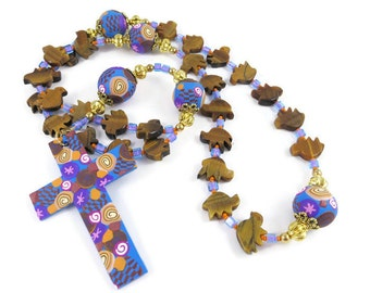 Golden Tigereye Birds Anglican Rosary Prayer Beads Episcopal Polymer Clay Canework Protestant Gift Handmade Cross Spirituality & Religion