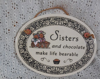 Christmas Gift SALE Vintage Wall Plaque Trinity Pottery USA Wisconsin Handcrafted Ceramic Sisters & Chocolate Teddy Bears Family Love