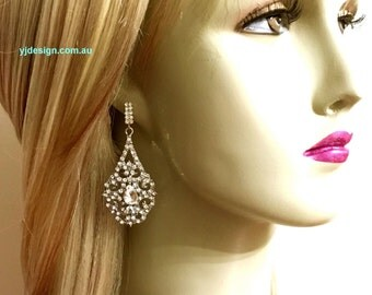 Vintage Style Wedding Earrings, Teardrop Bridal Earrings, Crystal Wedding Jewelry, Swarovski Bridal Jewelry, Dangle Earrings, MITRA