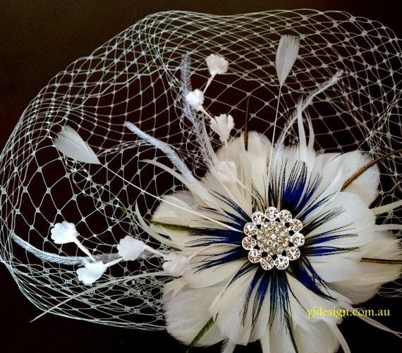 Something Blue Bridal Fascinator Veil Set, Peacock Wedding Hair Clip, Boho Feather Headpiece, Birdcage Veil, Wedding Veil, ART VIVA