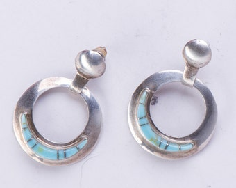 Zuni Turquoise Hoop Earrings - Native American Sterling - Channel Inlay Dangle Posts