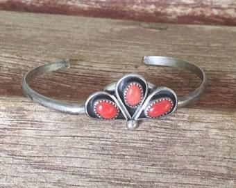 Vintage Zuni Coral Sterling Cluster Cuff - Native American Signed Bracelet