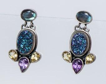 Nicky Butler Earrings  - Sterling Multistone Drusy- Retired Design