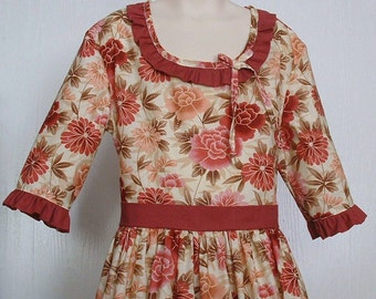 Girls Colonial Tea Dress  Civil War Costume  Pioneer Size 12/14  -    -    Ready to Ship