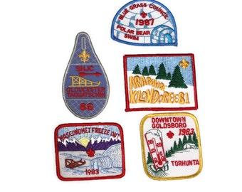 Vintage Boy Scout Patches, Set of Boy Scout Patches, Winter Boy Scout Patches, Boy Scouts 1980s, Instant Collection, Movie Props, Man Cave