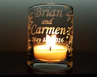 Personalized Engraved Glass Votive Holders 'Branches and Leaves' 50 Piece Wedding Shower Decoration Candle Keepsake
