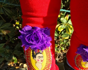 Red FRIDA KAHLO Embellished BABY Girl Leg Warmers Newborn to Toddler