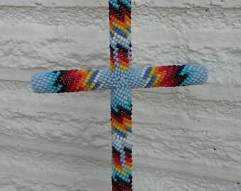 Vintage Native American Beaded Cross Pendant