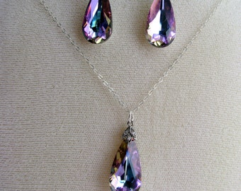 On SALE, Lilac Crystal Teardrop Pendant Necklace & Cz Earrings, Swarovski Lavender and Blue, Sterling Silver, Gift Set, Ready To Ship