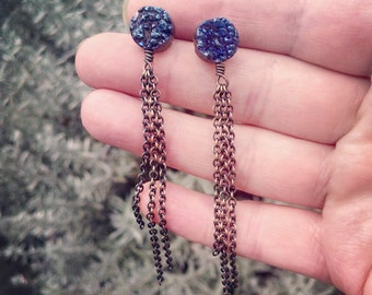 Blue Druzy post Earrings with Sleek Antique Brass Chain Tassels