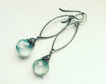Minty Green Chalcedony Drops on Textured Sterling Silver Marquise Hoops