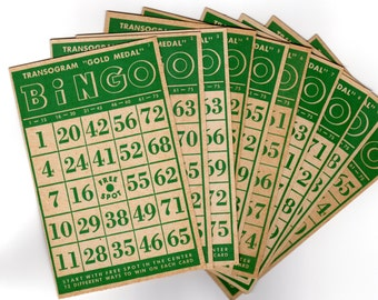 Vintage BINGO Cards Set of 10Green