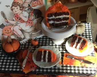 Miniature Halloween Chocolate Cake, Cake Plate, canvas Picture, Prep Table-1:12 scale