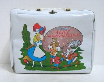 Vintage Aladdin Alice in Wonderland Vinyl Lunchbox Walt Disney Lunch Box Pail Disneyland