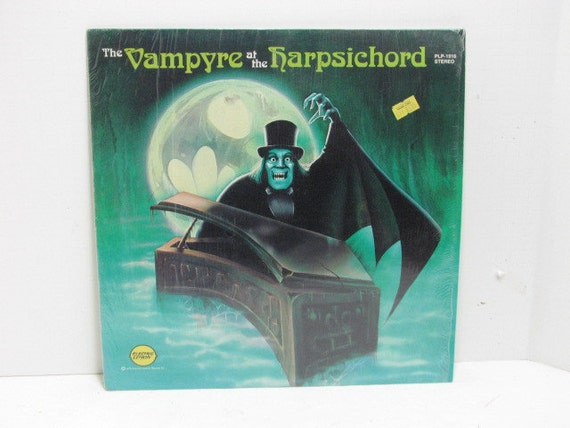 Halloween Music LP, The Vampyre at the Harpsichord Electric Lemon Record in Shrink, Vintage Halloween Vampire LP