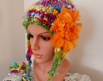 Beanie Ear flap hat  Hand Spun Hand Knit  Art Yarn rainbows