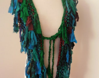 sale recycled silk  chiffon boho chic little tattered scarf  rich turquoise blue and green handknitted by plumfish