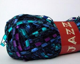 mini ladder ribbon yarn . arabian nights . feza jazzy yarn 150yd . turquoise purple blue railroad ribbon trellis novelty jewelry yarn