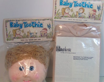 Vintage 1984 Baby Toothie Doll Head And Pre-Sewn Body, Flesh